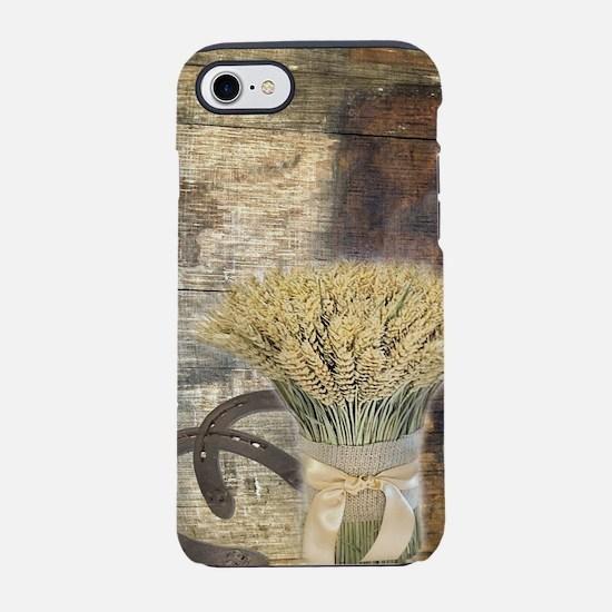 barn wood wheat horseshoe iPhone 8/7 Tough Case