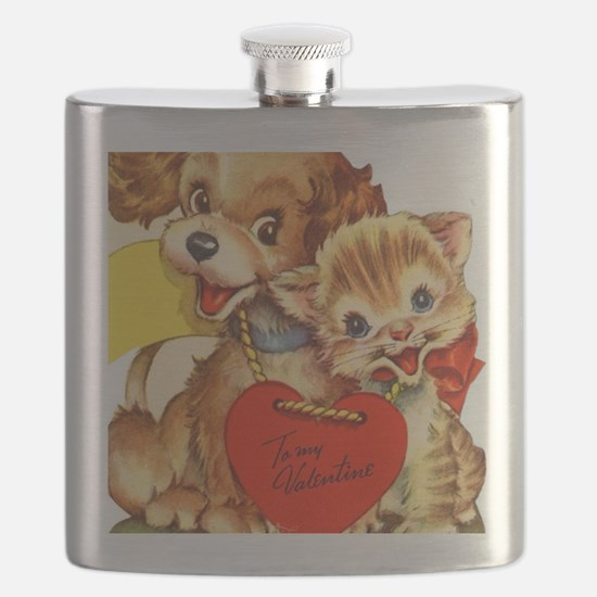 Cute Vintage retro art Flask
