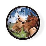 2 Horses Wall Clock
