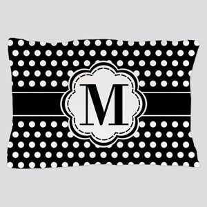 Black and White Chic Polka Dots with M Pillow Case