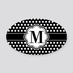 Black and White Chic Polka Dots wi Oval Car Magnet