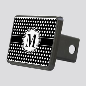 Black and White Chic Polka Rectangular Hitch Cover