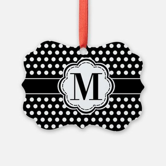 Black and White Chic Polka Dots w Ornament