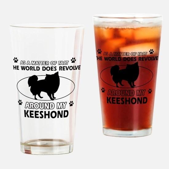 Keeshond Design Drinking Glass