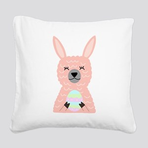 Pink Llama Holding Easter Egg Square Canvas Pillow