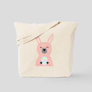 Pink Llama Holding Easter Egg Tote Bag