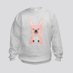 Pink Llama Holding Easter Egg Sweatshirt