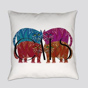 Whimsical CATS Everyday Pillow