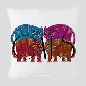 Whimsical CATS Woven Throw Pillow
