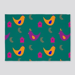Colorful Chickens on Teal 5'x7'Area Rug
