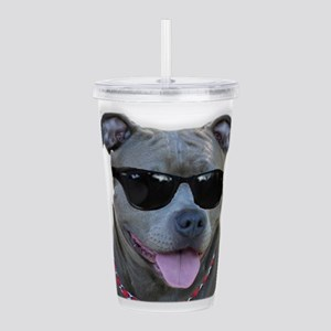 Pitbull in sunglasses Acrylic Double-wall Tumbler