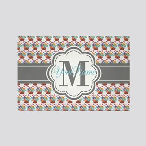 Vintage Painted Floral Personaliz Rectangle Magnet