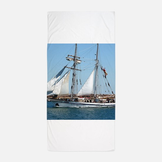 Sailing ship 1: One and All Beach Towel