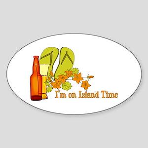 I'm On Island Time Oval Sticker