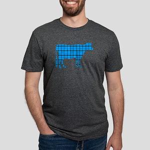 Cow: Light Blue Plaid Mens Tri-blend T-Shirt