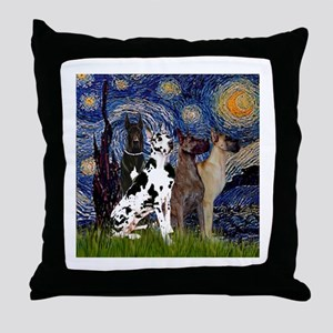 Starry Night & 4 Great Danes Throw Pillow