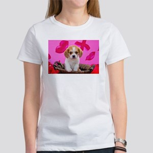 Beaglier Puppy in front of Valentines Day T-Shirt