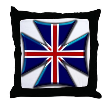 British Biker Cross Throw Pillow