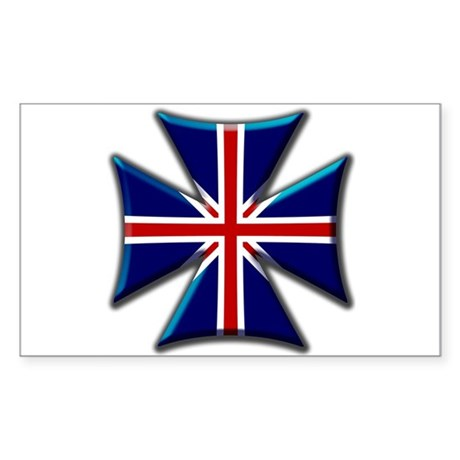 British Biker Cross Rectangle Sticker
