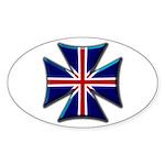 British Biker Cross Oval Sticker