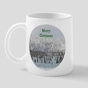 Merry Christmas Snowy Trees Mug