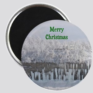Merry Christmas Snowy Trees Magnet