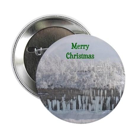 "Merry Christmas Snowy Trees 2.25"" Button (10 pack)"