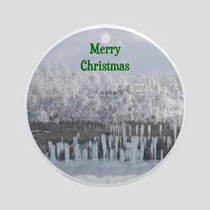 Merry Christmas Snowy Trees Ornament (Round)