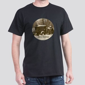 Merry Christmas Vintage Tractor Dark T-Shirt