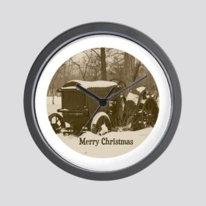 Merry Christmas Vintage Tractor Wall Clock