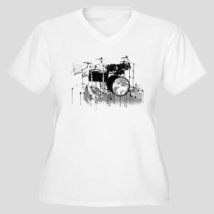 Drum Set Graffiti Women's Plus Size V-Neck T-Shirt