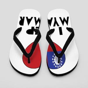 I Rep Myanmar Country Flip Flops