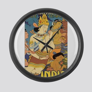 See India Travel Poster Large Wall Clock