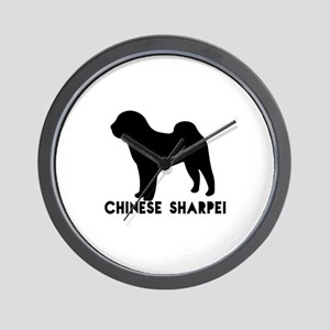 Chinese Shar-pei Dog Designs Wall Clock