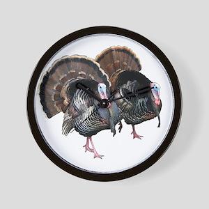 Wild Turkey Pair Wall Clock