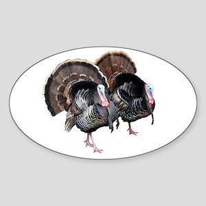 Wild Turkey Pair Oval Sticker