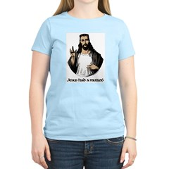 JESUS HAD A MULLET Women's Pink T-Shirt