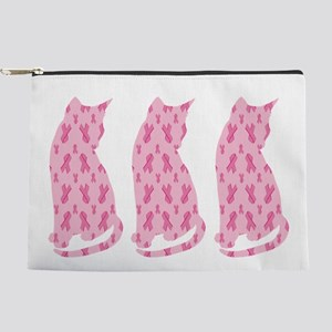 Pink Ribbon Cats For Cancer Makeup Bag