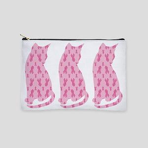 Pink Ribbon Cats For Cancer Makeup Bag