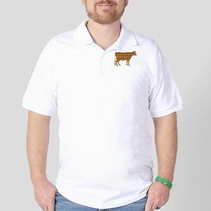 Cow: Orange Plaid Polo Shirt