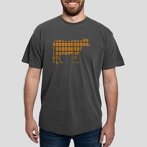 Cow: Orange Plaid Mens Comfort Colors Shirt