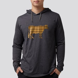 Cow: Orange Plaid Mens Hooded Shirt