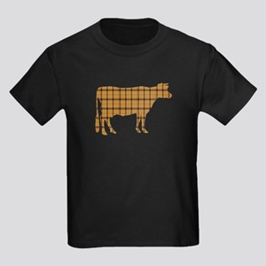 Cow: Orange Plaid Kids Dark T-Shirt