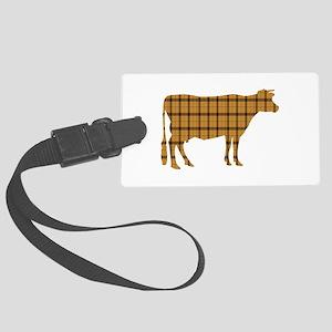 Cow: Orange Plaid Large Luggage Tag