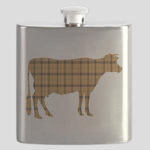 Cow: Orange Plaid Flask