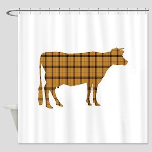 Cow: Orange Plaid Shower Curtain