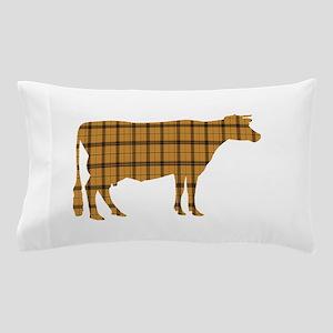 Cow: Orange Plaid Pillow Case