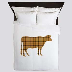 Cow: Orange Plaid Queen Duvet