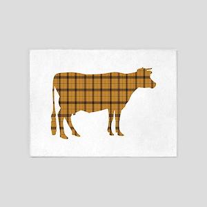Cow: Orange Plaid 5'x7'Area Rug
