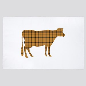 Cow: Orange Plaid 4' x 6' Rug